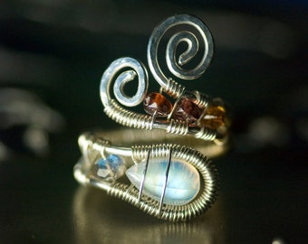 "Moonstone Argentium Silver Gemstone Wirework Ring - Fire Rainbow Moonstone, Labradorite, Sapphire, Garnet, June Birthstone - ""Moonrise"""