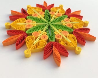 Quilled Snowflakes Paper Quilling Art Christmas Tree Decor Winter Hanging Ornaments Gifts Toppers Mandala Office Corporate Yellow Green Red