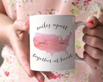 Miles Apart Together at Heart - Personalized Coffee Mug - Watercolor Mug - gift for mom - gift for BFF - mother's day gift - sister gift