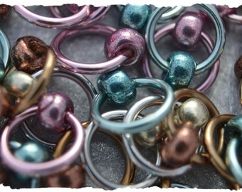 """Ringlets """"Galvanized"""" stitch markers, ring markers, knitting markers, snag free, dangle free"""