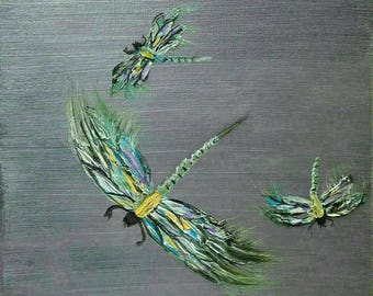Dragonfly Painting, Wall Art Wall Hanging Dragonfly Home Decor Original Painting Dragonfly Art Acrylic Painting 12x12 Canvas