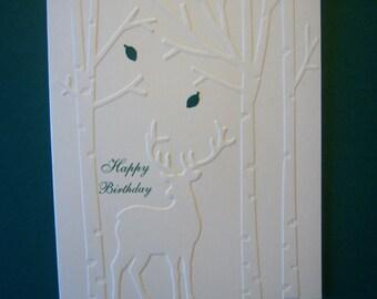 Embossed Woodland Deer Birthday Card