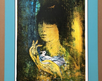 Pencil-Signed Lithograph Hoi Lebadang, Girl with Dove, Vietnam 16 x 22