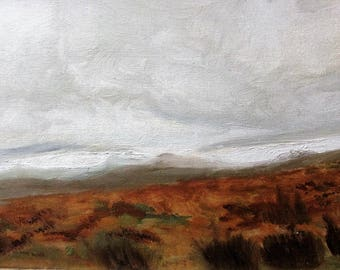 Original Framed stormy Dartmoor oil painting on canvas