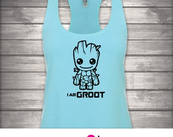 1 Womens Racerback Tank, I Am Groot, Guardians Of The Galaxy, Marvel Comics, SciFi, Disney, Rocket Racoon, Superhero, GOTG, Baby Groot, Fun