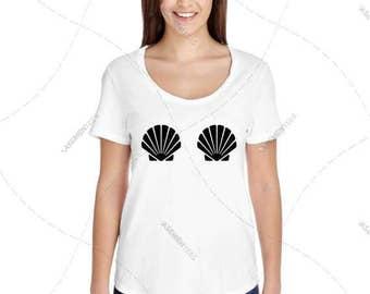 """Womens - Girls - Premium Retail Fit """"Seashells Fashion Tee, Sea Shells, Boobs, Boobies, Free The Nipple"""