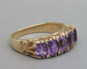 Antique Victorian gold and amethyst ring/Diamond ring/Row ring/Engagement ring/ Gothic gold ring/ February Birthstone ring