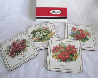 4 Pimpernel Coasters Caribbean Florals Original Box Vintage RARE
