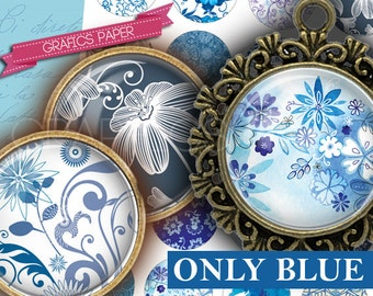 """Romantic blue flowers printable - digital collage sheet - td239 - 1.5"""", 1.25"""", 30mm, 1 inch circles - Jewelry Making, Scrapbooking, Crafts"""