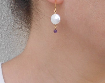 Spring SALE - Coin pearl earrings, June birthstone, Gift for her