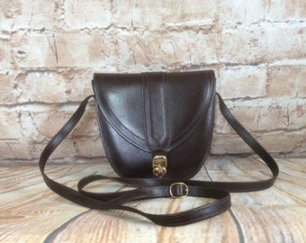 Vintage Cross Body Shoulder Bag Satchel Dark Brown Leather By Celli Boho Chic Bohemian Preppy Student c1970s