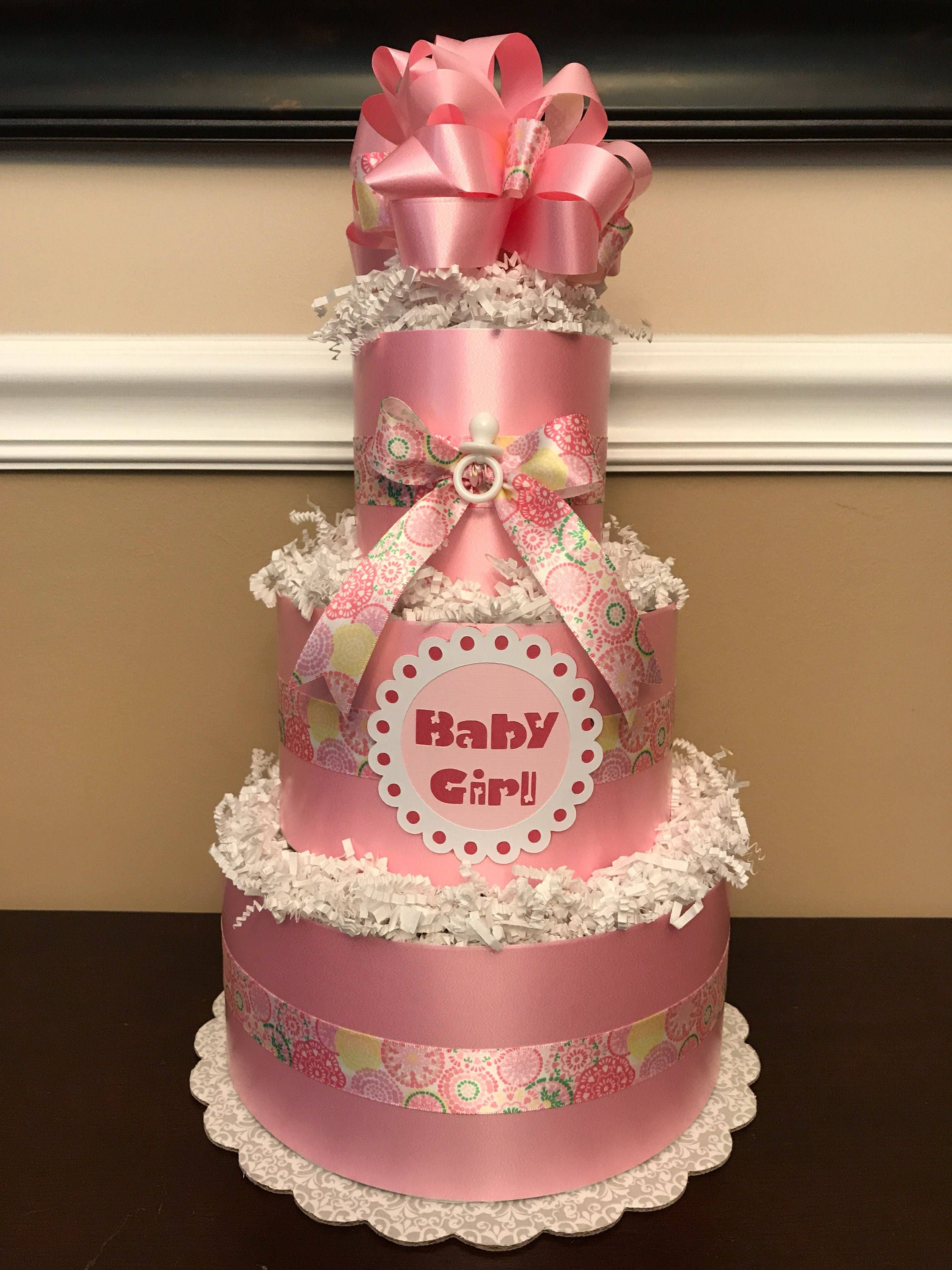 Diaper Cake Pink & White Baby Girl Pampers Baby Shower 3 Tier