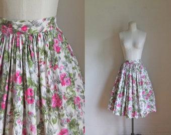 vintage 1950s foral skirt - ROSE POTPOURRI full skirt / M