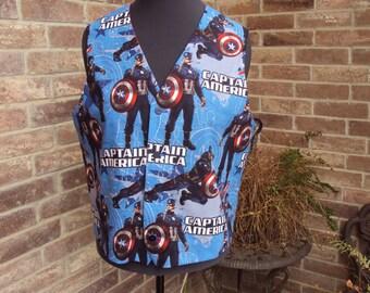 Captain America adult vest size large, comic con vest, Wedding vest, Halloween costume