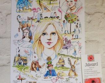 Alice in Wonderland, Alice art, art print, Fantasy art, Alice illustration, gift for her, gift idea, book lover's gift, Cheshire cat, Alice