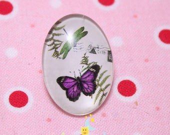 Glass cabochon oval motif butterflies purple 18 / 25mm
