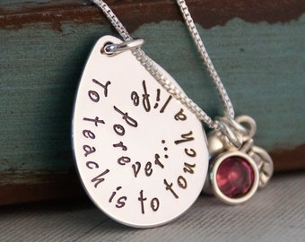 Teacher Appreciation Necklace - Personalized Jewelry - Sterling Silver Teacher Necklace To teach is...