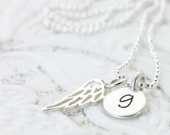 Calling All Angels | Silver Angel Wing Initial Necklace | Personalized Jewelry | Guardian Angel | Faith Memory Love | Christina Guenther