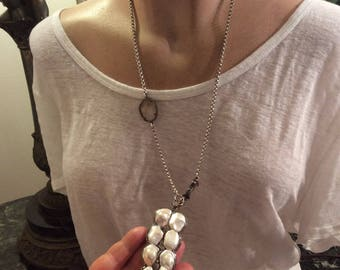 Sterling Silver chain necklace with white pearl pendant with diamonds,and quartz around