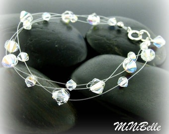 3 Strand Swarovski Crystal Floating Illusion Bridal Bracelet in Crystal Clear AB