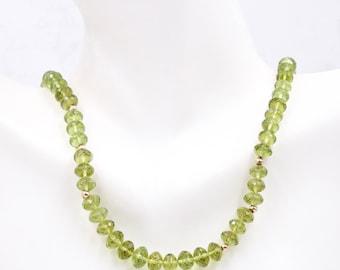 Peridot | Natural Peridot | Peridot Gemstone | Peridot Loose Gemstone | August Birthstone | Peridot Beads Necklace 14K YG  6mm  18 Inch