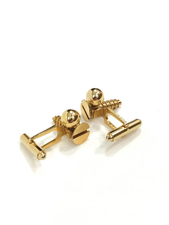 Gold Cufflinks, Wood Screw Cufflinks, Novelty Cufflinks, Gift for Carpenter / Handy Man, Fathers Day Gift, Vintage Jewelry