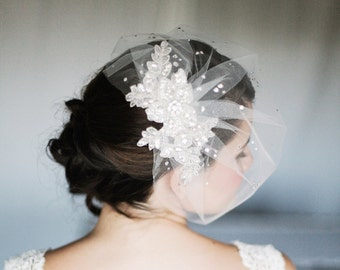 Tulle Birdcage Veil with Crystals, Blusher Veil with Crystals and Rhinestone Lace, Lace and Crystal Veil in White or Ivory