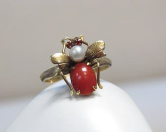 Antique 14k Pearl and Coral Bug Ring, Size 6.5 US