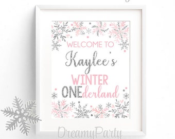 Winter Onederland Welcome Sign, Pink and Silver Welcome Sign, 1st Birthday Welcome Sign, Winter Onederland Party Decor, Digital File.WWS2