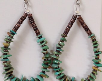 Native American Santo Domingo Turquoise and Olive Shell Heishi Sterling Earrings - Jeanette Calabaza