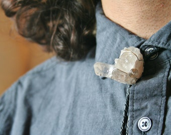 Quartz Crystal Cluster Bolo Tie with either Genuine or Faux Leather Cord