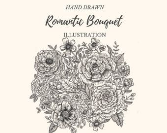 Hand Drawn Romantic Bouquet- line drawing, flowers, plants, botanical, rustic, romantic