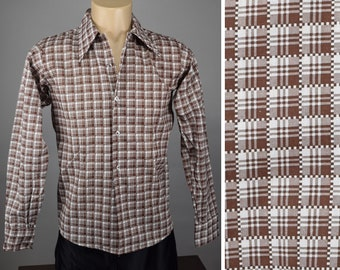 Vintage 60s Brown Plaid Check Button Up Shirt XS Teen
