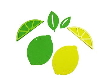 Lemon or Lime Die Cut Set of 50 (10 of each shape)