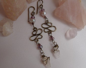 Pink raw rose quartz and pearl danglies*bronze wrapped and swirled quartz and pearl earrings