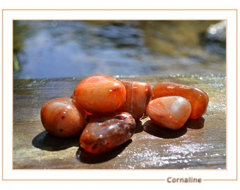 Carnelian stone rolled 3 to 4 cm approximately