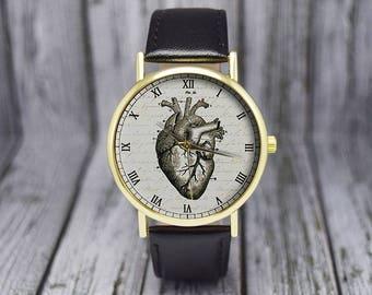 Vintage Heart Watch | Leather Watch | Ladies Watch | Womens Watch| Men's Watch | Gift for Her | Gift Idea | Wedding | Birthday | Accessories