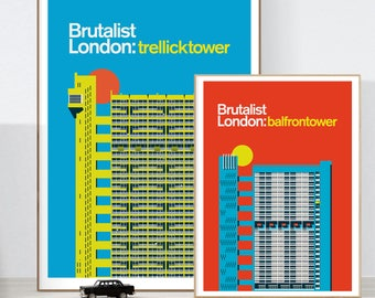 Brutalist Architecture: Trellick + Balfron Towers- Illustrated poster Combo, Matte and Giclee Art Prints in A3 or A2 sizes. Wall Art.