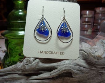 Natural Blue Sea Glass in Hammered Tear Drop Shape Hoops with Suns