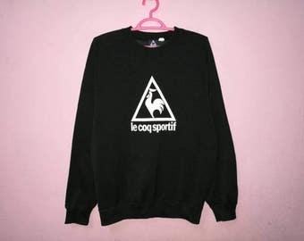 Rare!! Vintage Le Coq Sportif Big Logo Big Spellout Pullover Jumper Sweatshirt