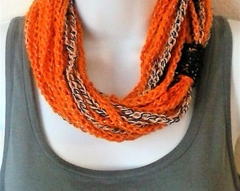 Chain Scarf - Infinity Scarf - Necklace Scarf - Circle Scarf - Halloween Chain Loop Circle Scarf