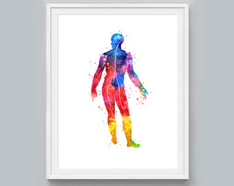 Human Neural Print Neural Watercolor Print Medical Art Science Neurology Psychiatry Therapy Art Doctor Poster Neuron Anatomy Print Science