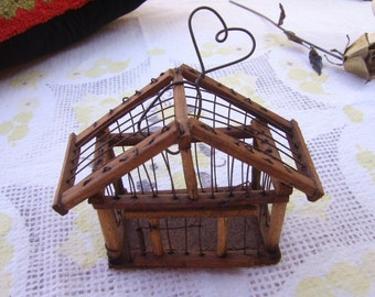 Vintage Wood And Wire Miniature Bird Cage House