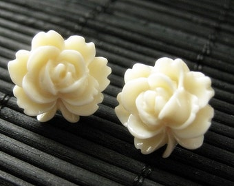 Ivory Lotus Flower Earrings with Bronze Stud Earrings. Floral Jewelry by StumblingOnSainthood