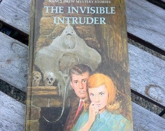 Vintage children's books, Nancy Drew Mysteries, Carolyn Keene, The Invisible Intruder, color cover book, instant collection