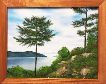 Hiker's Serenity Original Oil Painting on Stretched Canvas