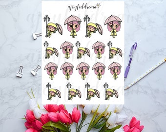 Chibi Elf - Rainy Days Planner Stickers