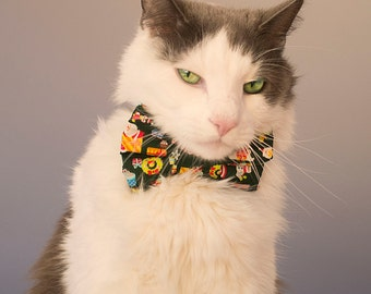 Holiday Kawaii Print Bow Tie For Cats