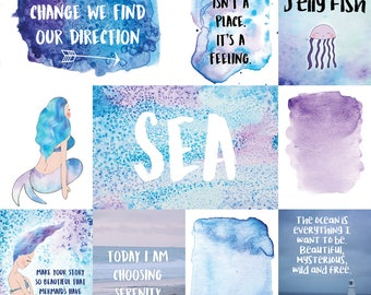 Mermaid Waves 12×12 Journal Card Cut-a-part