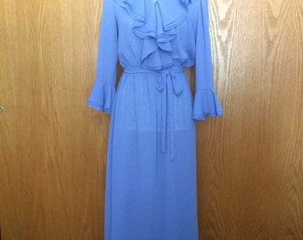 70s Dina Bennett, Inc. Periwinkle Ruffle Plunge Semi-Sheer Disco Gown/Maxi-Dress w/Ruffle Sleeves - S